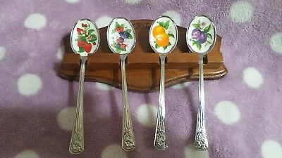 Vintage 1981 Set of 4 Stainless Steel & Enamel Fruit Spoons and Rack from Avon