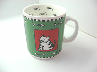 Fish Bones and Cats Mug Cup Coffee Tea TAG 2001 Green Blue Yellow White Red