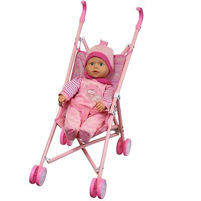 "New 16"" Soft Bodied Lovely Baby Doll Girl in Pink Buggy Stroller Girls Toy Pram"