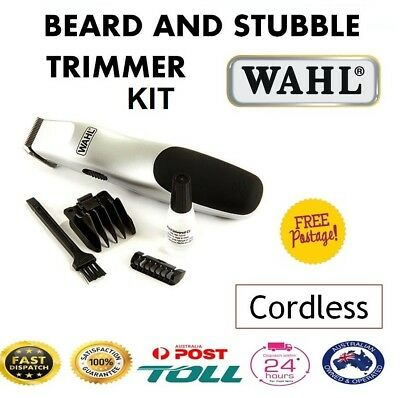 WAHL Beard Stubble Trimmer Compact Cordless Battery Operated Moustache Shaver