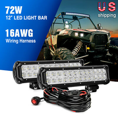 Nilight 2PCS 12 inch 72W Combo Led Light Bar Offroad Lights Wiring Harness Kit