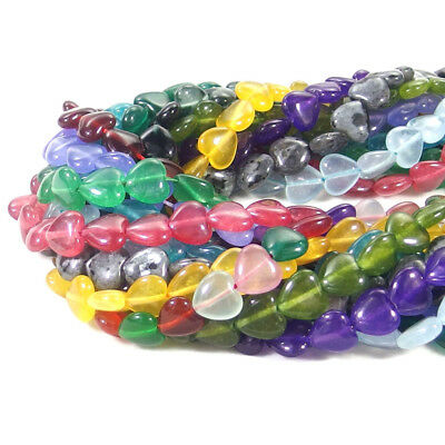 """Multi Color Natural Gemstones 12x12mm Heart Spacer Beads Strand 15"""" Jewelry DIY"""