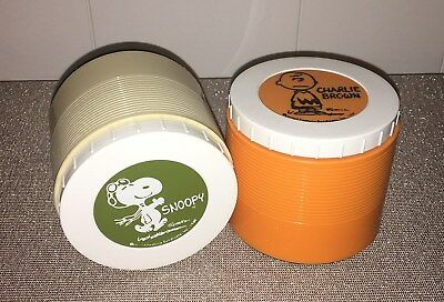Vintage 1969 Thermos Insulated Soup Jars #1155 Snoopy Red Baron & Charlie Brown