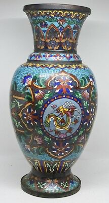 Antique Large Chinese Cloisonne Vase ~ 13 Inches Tall ~ mid/ late 1800's
