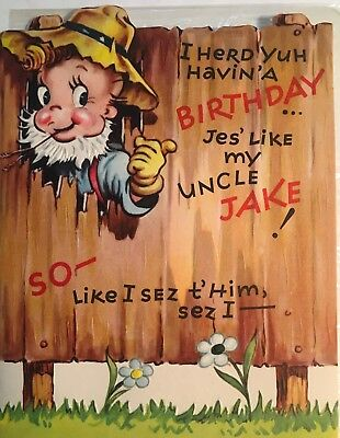 Vintage 1950s Retro Country Birthday Card Fence Bare Foot Unused