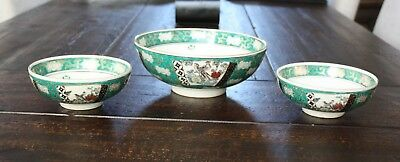 Set of 3 GOLD IMARI Bowls JAPAN Serving Bowl & 2 Rice/Soup Bowls Green & Gold
