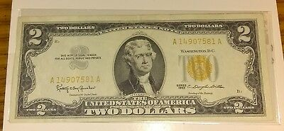 1963 Series 2 Dollar Bill United States Note Yellow Seal *Eye Appeal*