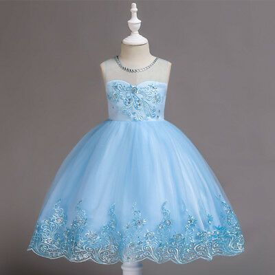 Flower Girl Dress Lace Princess Formal Wedding Birthday Holiday Graduation Party