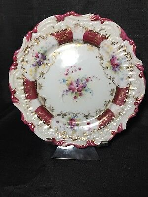 Antique NPSK Nippon Hand Painted Embossed Plate Gold Details Dresden Type Floral