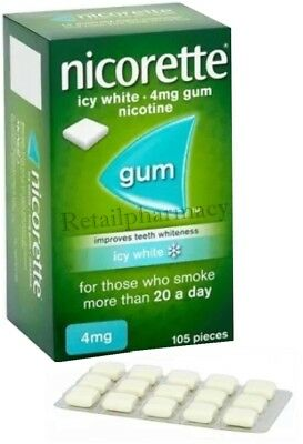 Nicorette Icy White 4mg Gum Pack of 105 pieces MULTIPLE PACKS available
