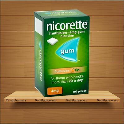 Nicorette fruitfusion 4mg gum Pack of 105 pieces MULTIPLE PACKS available