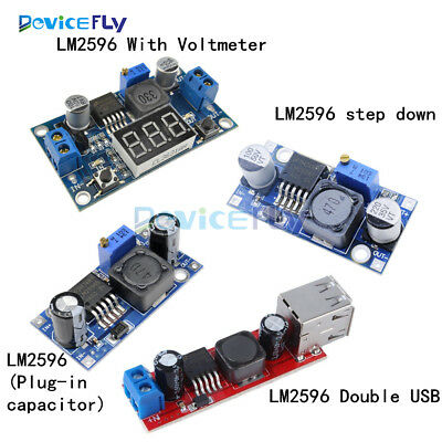 DC-DC LM2596 Buck Step-down Power Converter Module Double USB/LED Voltmeter