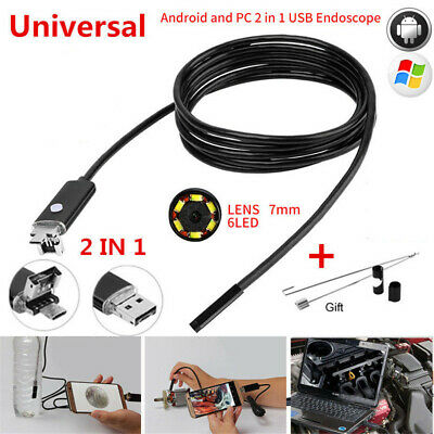 Waterproof 7.0MM Lens 2 in 1 USB Inspection Camera 6 Pcs Adjustable LED Lights