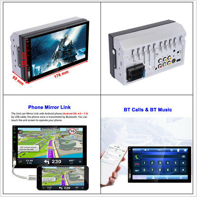 2 DIN 7'' Touch Screen Car Stereo Player BT Mirror Link FM/MP5/USB/AUX Function