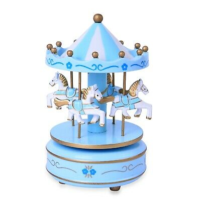 New Blue and White 4-Horse Wooden Carousel Musical Box, 250 cttw