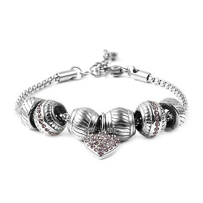 """Pink Crystal Heart Charm Bracelet for Women Stainless Steel Gift 7""""-8"""" Ct 0.76"""