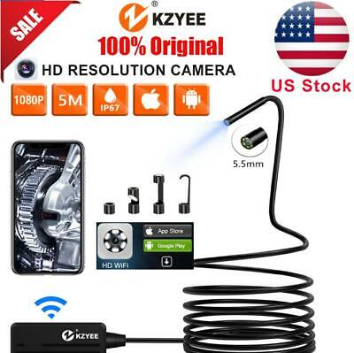 Kzyee 5m Semi-rigid cable Wireless Endoscope Inspection Camera WiFi Android&iOS