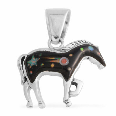 Horse Pendant Southwest Jewelry Onyx Spiny Oyster Shell 925 Sterling Silver