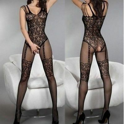 Black Fishnet Lace Crotchless Full Bodystocking Lingerie Bodysuit Corset Pattern