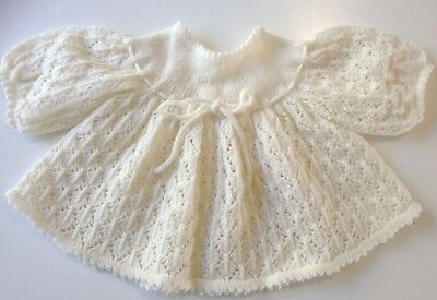 Baby fancy knit white jumper, drawstring & buttons, approx size 000  photo prop