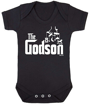 THE GODSON Funny Boys BABYGROW Vest Bodysuit Christening Gift Babies Clothing