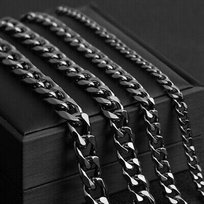 Mens Boys 5/7/9/11mm Black Stainless Steel Curb Link Chain Necklace 24""