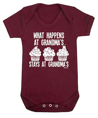 HAPPENS AT GRANDMAS Funny Boys Girls Babygrow Vest Bodysuit Grandparents Gift