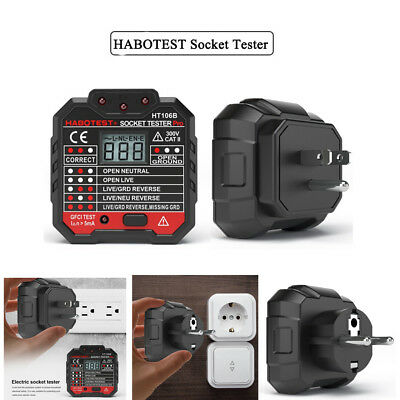 HABOTEST Socket Tester Digital Display Plug In Electric Mains Fault Checker Tool