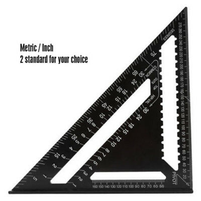 """7"""" Ruler Metric/Imperial System Aluminum Alloy Speed Square Roofing Triangle"""