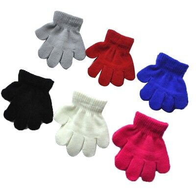 Child's Pure Color Knitting Gloves Winter Outdoor Travel Casual Warm Mitten New
