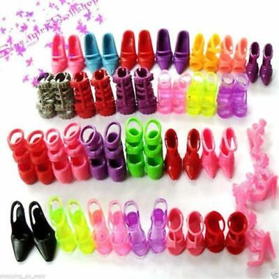 New 30 Pairs Trendy Assorted High Heel Shoes Cloth Accessories For Barbie Doll