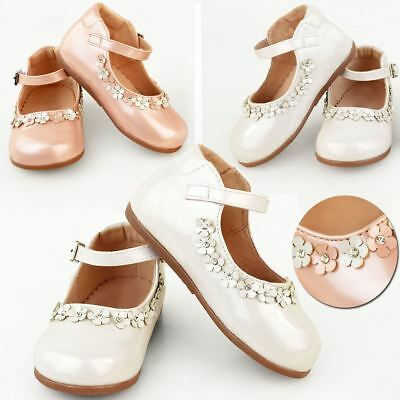 Girls Kids Childrens Low Heel Party Wedding Mary Jane White Sandals Shoes Size