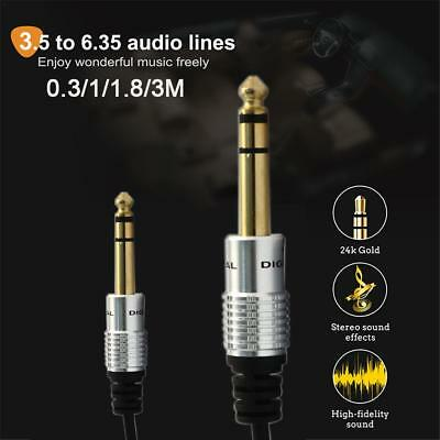 3.5mm to 6.35mm Adapter Jack Audio AUX Cable for Mixer Amplifier Guitar Male