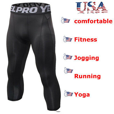Men Compression Shorts 3/4 Cropped Pants Gym Clothes Base Layers Running Tights