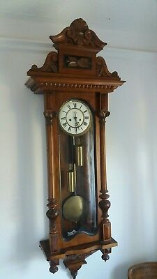 antique vienna wall clock twin weight with chimes strikes on half hour and hour