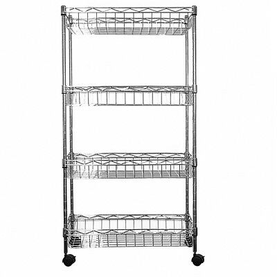 84x45x25cm Real Chrome Wire Rack Metal Steel Kitchen Shelving Racks Casters S247