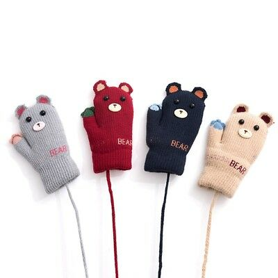 Cute Bear Printed Full Fingers Gloves Winter Warm Knitted Soft Mitten with Rope