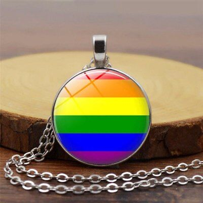 Rainbow Chain Necklace Gay Pride LGBT Round Circle Pendant Necklace Charming Les
