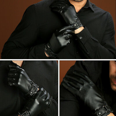 Mens Screen Touch Waterproof Real Leather Warm Lined Black Driving Winter Gloves