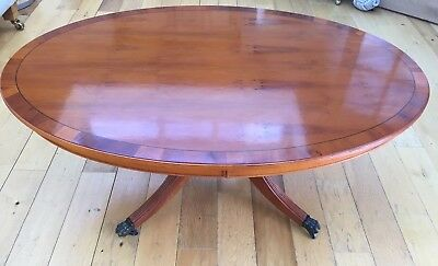 Large Regency Style Yew Wood And Mahogany Oval  Coffee Table