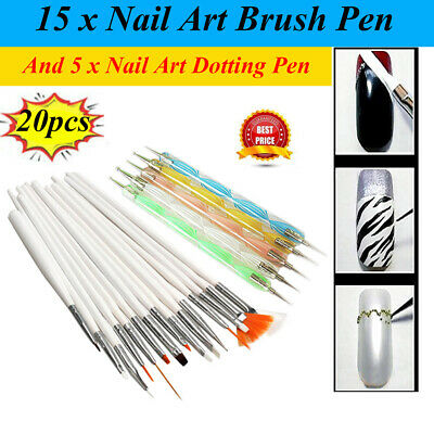 20pcs Nail Art Design Set Dotting Painting Drawing Gel Polish Brush Pen Tools
