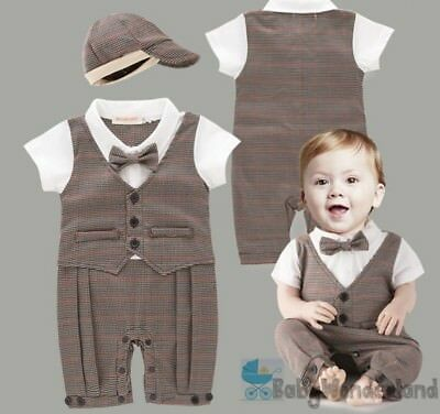 Baby Boys 2Pcs Christening Wedding Formal Tuxedo Jumpsuit Rompers Hat Size 0-2Y