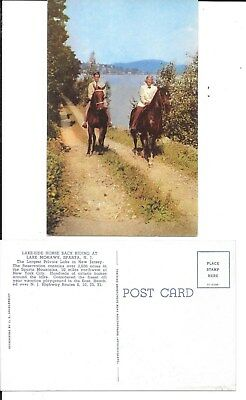 LAKE MOHAWK SPARTA NJ NEW JERSEY HORSE BACK RIDERS POSTCARD 1950s