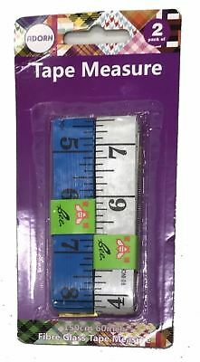 2 x Tape Measure 1.5M 60 Inches Imperial Metric Measures