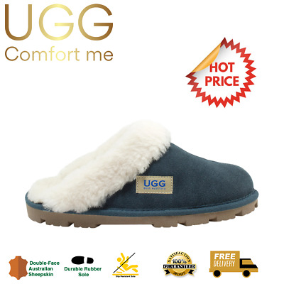 UGG Fur Trim Scuffs, CLEARANCE, Australian Sheepskin, Womens, Mens, Navy