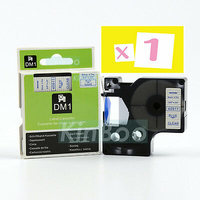 1 Pack Tape Label Compatible for DYMO D1 40911 Blue on Clear 9mm 7m
