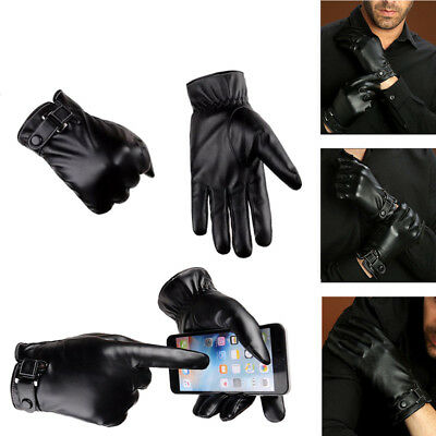 Fashion Men Winter Leather Motorcycle Full Finger Touch Screen Warm Gloves