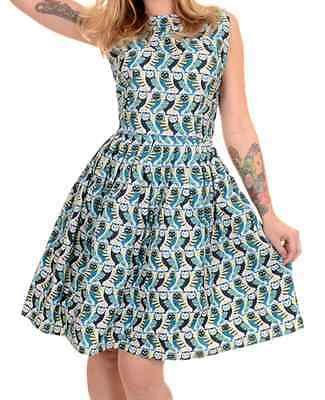 WOMENS RUN & FLY 50's vintage retro style dress with cute owl print