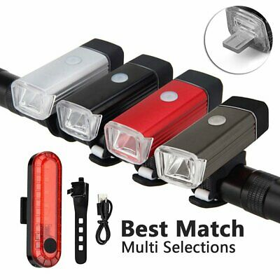 Mountain Bike Cycle Cycling LED USB Rechargeable Headlight Front Rear Back Lamp