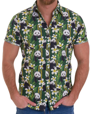Mens Run & Fly 50S/60S Retro/vintage/hawaiian Panda With Bamboo Print Shirt
